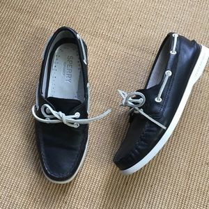 Black Leather Sperry Top-Sider Boat Shoes